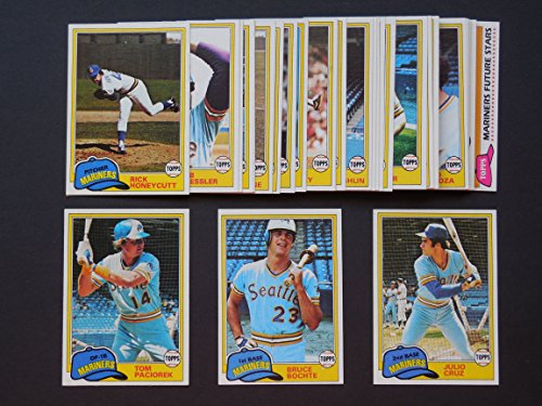 - Seattle Mariners 1981 Topps Baseball Master Team Set with year end High Numbers (32 Cards) (AND RECEIVE A FREE 1981 Topps Sticker Mariners Team Set) (Glenn Abbott) (Bruce Bouchte) (Jim Beattie) (Julio Cruz) (Tom Paciorek) (Floyd Bannister) (Dan Meyer) (Rick Honeycutt) (Richie Zisk)
