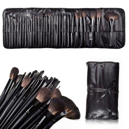niceEshop (TM) 32 шт Элегантные профессиональный, супер красоты Косметические кисти для макияжа Набор Kit с бесплатным кожаный чехол-Черный + Free niceEshop кабельной стяжки