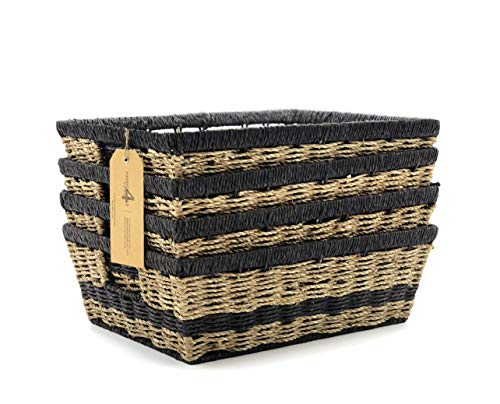 Handcrafted 4 Home 4-Pack Wicker Storage Baskets Set with Handle for Shelves, Cloths, Toy Organizer in Bedroom, Living Room, Kid