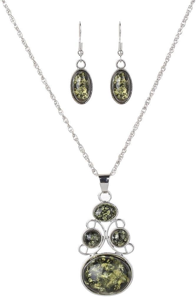 YAZILIND – Conjunto de collar y pendientes con detalle de falso ámbar, para mujer