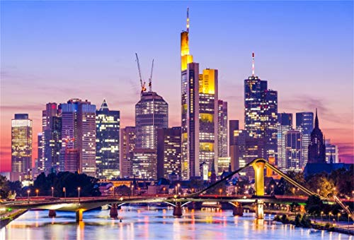 CSFOTO 5x3ft Background for Frankfurt Am Main Skyline Photography Backdrop Famous City Night Landscape Canal Bridge Landmark Modern Architecture Tour Vacation Photo Studio Props Polyester Wallpaper