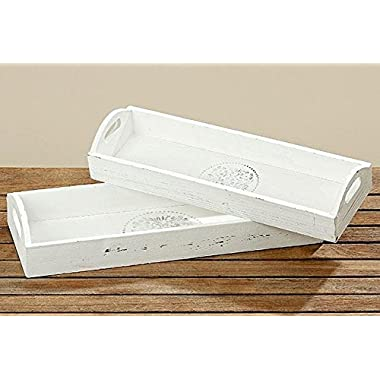 The Stockbridge Rustic Country Tray Set of 2, White Washed Natural Wood, Distressed Finish, By Whole House Worlds