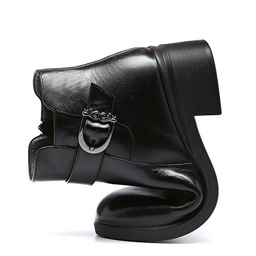 de con zapatos Cashmere estilo caliente zapatos suave todos suela Black GTVERNH de mediana coinciden botas madre de edad Mujer algodón invierno con botas británico PIxyBwpqE