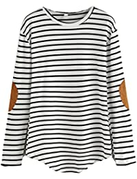 Women's Casual Long Sleeve Top Round Neck Striped T-Shirt