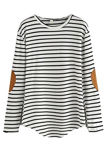 Verdusa Women's Casual Long Sleeve Top Round Neck Striped T-Shirt