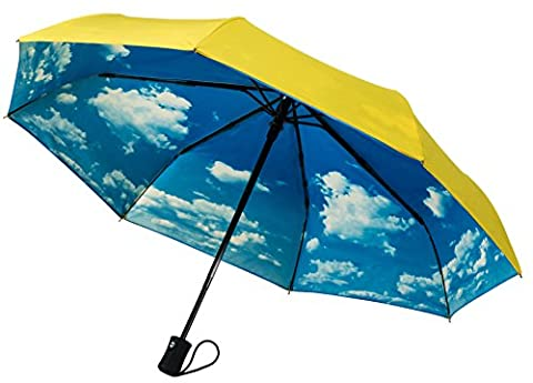 Crown Coast Yellow With Sky Travel Umbrella - 60 MPH Windproof Lightweight for Men Women and Kids, Compact Travel Umbrellas in Multiple (Corrosion Blocker)