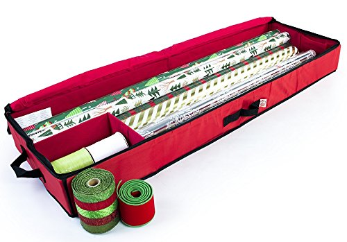 Christmas Storage Organizer - Wrapping Paper Storage and Under-bed Storage Container for Holiday Storage of Gift Bags, Wrapping Paper, Ribbon, and Bows