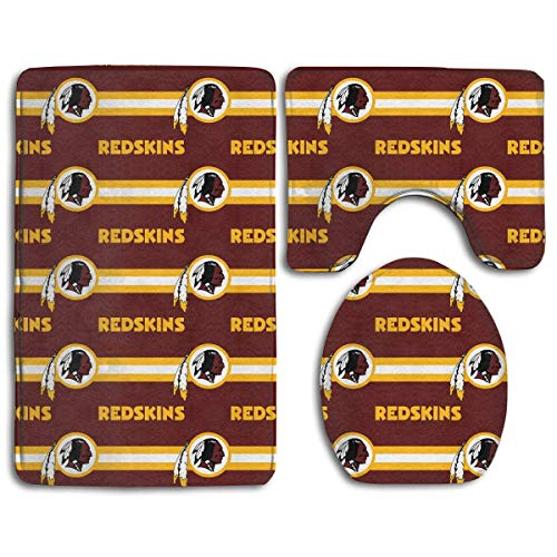 RSKURUI-AA !!! Custom Colorful Doormat American Football Team Washington Redskins Indoor Bathroom Anti-Skid Mats,3 Piece Non-Slip Bathroom Rugs,Non-Slip Mat Bath + Contour + Toilet Lid