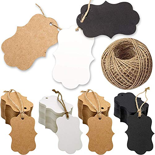 Onwon 100 PCS Kraft Paper Gift Tags Blank Paper Tags Hang Labels with 98.4 Feet Natural Jute Twine String for Birthday Party, Wedding, Valentine's Day, Christmas Eve, Art & Crafts, Brown Black White (Tags Felt Gift)