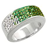 Sterling Silver Peridot CZ Rainbow Ring 5/16 inch, size 10