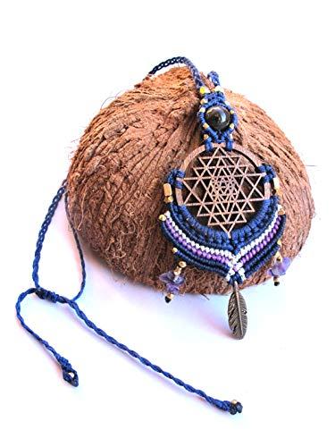 Sri Yantra Macrame Pendant Necklace, Yoga Jewelry, Sacred Geometry Jewelry by Goa Laser Factory
