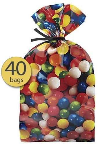 Pack of 40 - Party Favor Bags - Loot Bags - Cellophane Bags - Gumball theme design - Candy Party - with Ties - Wholesale Bulk Pack