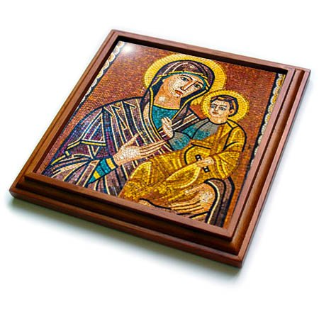 (3dRose Danita Delimont - Religion - Baby Jesus and Mary Mosaic, Saint Georges Church, Madaba, Jordan. - 8x8 Trivet with 6x6 ceramic tile (trv_276927_1))