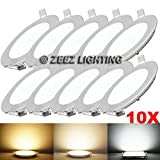 ZEEZ Lighting - 9W 5'' (OD 5.75'' / ID 4.95'') Round Warm White Dimmable LED Recessed Ceiling Panel Down Light Bulb Slim Lamp Fixture - 10 Packs