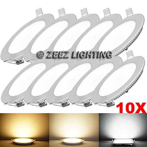 ZEEZ Lighting – 25W 11″ (OD 11.75″ / ID 10.75″) Round Cool White Dimmable LED Recessed Ceiling Panel Down Light Bulb Slim Lamp Fixture – 10 Packs For Sale