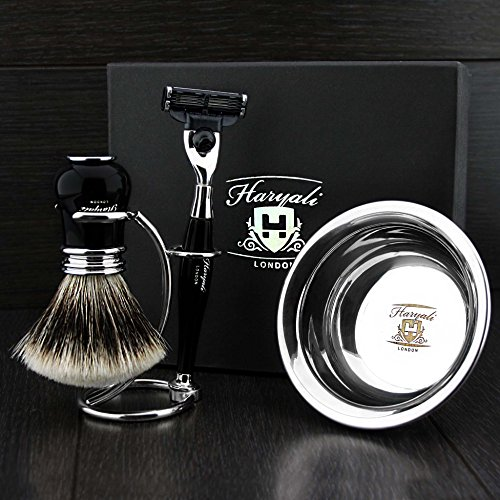 4 Pcs Men's Shaving Set In Ivory Colour ft Gillette Mach 3 Razor(Replaceable Head),Sliver Tip Badger Hair Brush, Dual Stand for Both Razor&Brush,Stainless Steel Bowl .New.Perfect Gift Kit for Him
