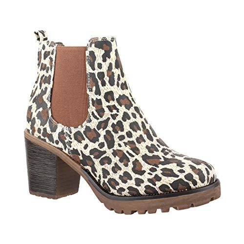 Elara Mujer Wildlederlook Leopard Botas plisadas 7fqxpBw7