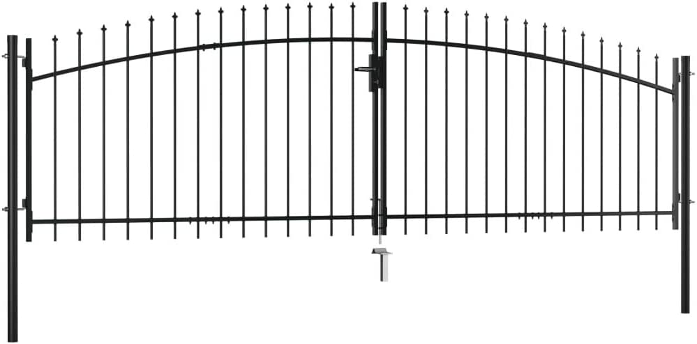Tidyard Puerta Doble para Valla con Puntas de Lanza 400x200 cm,Puerta Barrera Exterior Cercas para Jardín