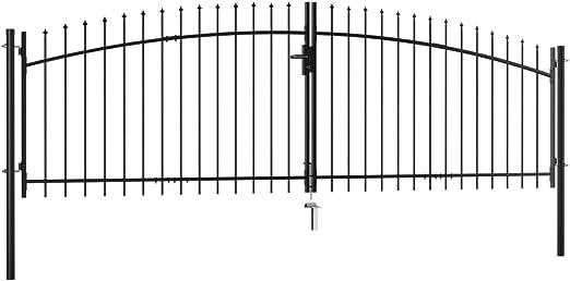 Tidyard Puerta Doble para Valla con Puntas de Lanza 400x200 cm,Puerta Barrera Exterior Cercas para Jardín: Amazon.es: Hogar