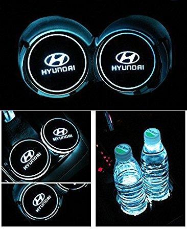 JSAMZ Car Logo LED Cup Pad led Cup Coaster USB Charging Mat Luminescent Cup Pad LED Mat Interior Atmosphere Lamp Decoration Light (Fit for Hyundai)