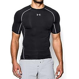 Under Armour Men\'s HeatGear Armour Short Sleeve Compression Shirt, Black/Steel, Medium