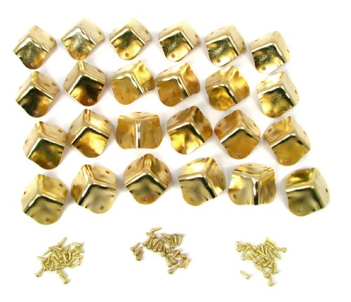 24pcs. Heavy Duty Square Brass-plated Box Corners with Mounting Screws - Gold Screw Accents
