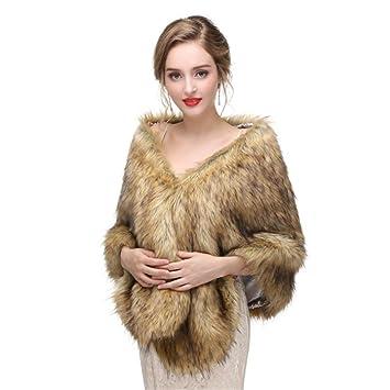 Abrigo de la bufanda Invierno cálido de las mujeres de piel sintética chal bufanda cabo abrigos ...