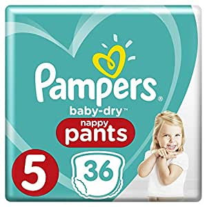 Pampers Baby-Dry Nappy Pants Size 5 Walker (12kg-17kg), 36 Nappy Pants