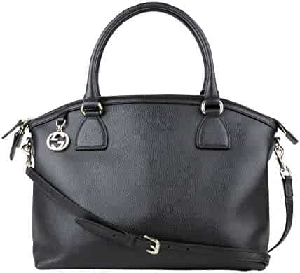 db7f3ee5f Gucci GG Charm Black Leather Large Convertible Dome Bag With Detachable Strap  449660 1000