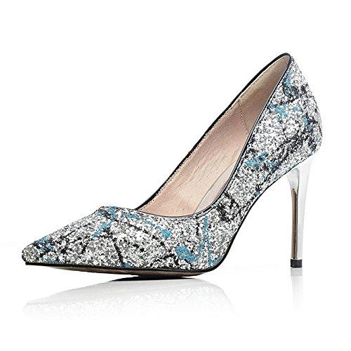 Minivog Talon Haut Pompes Femmes Chaussures Bleu