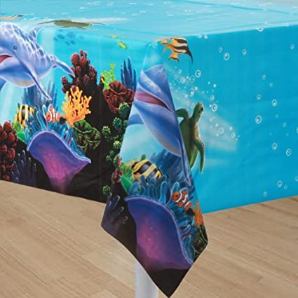 1 Tablecloth Ocean Party For Kid S Birthday And Theme Party Children Birthday Party Plastic Table Cover Ocean Sea Coral Reef Clown Fish Turtle Dolphin Amazon Co Uk Kitchen Home