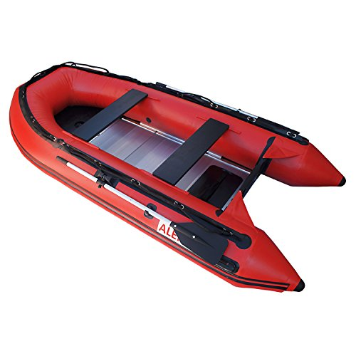 ALEKO 12.5 Ft Red Inflatable Boat with Aluminum Floor Heavy Duty Design 6 Person Raft Sport Motor Fishing Boat 3+Keel Air Chambers