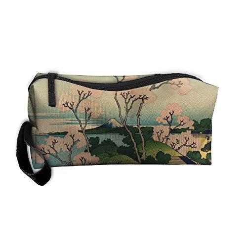 (EWSDa Hokusai Japan Ink Cherry Blossom Mount Fuji Cosmetic Bag Unisex Multifunctional Receiving Bag )