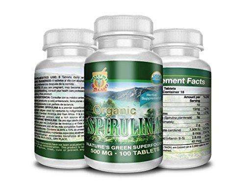 Amazon.com: Spirulina Organica 100 Tabletas 500MG, alga spirulina 100% natural, combate anemia, regula niveles de azucar, reduce colesterol, ...