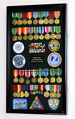 Large Military Medals, Pins, Patches, Insignia, Ribbons, Flag Display Case Cabinet, Black