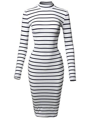 Navy Blue Striped Sweater (Casual Striped Long Sleeve Mock Neck Midi Dress White Navy M)