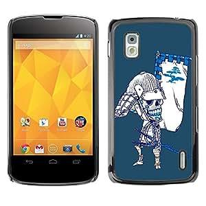 LASTONE PHONE CASE / Diseño de Delgado Duro PC / Aluminio Caso Carcasa Funda para LG Google Nexus 4 E960 / Cool Japanese Sugar Skull Samurai Bow Skeleton