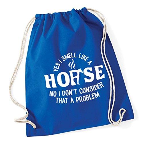 46cm HippoWarehouse Royal Gym Sack Yes Kid Like I School Drawstring No litres I Bag Problem Consider Cotton 12 37cm A A Smell x Horse Blue That Don't BBqrT4n