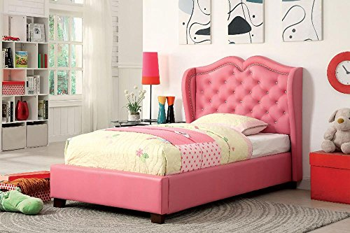 Price comparison product image Brayfield Button Tufted Wingback Full Bed - Pink Leather PU