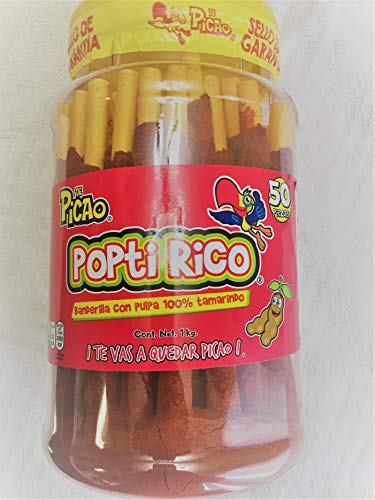 Banderilla Poptirico Tamarindo Vitrolero 1 kg. 50 piezas. Banderilla Poptirico Candy Sticks Tamarind Flavor & Chili 1kg. 50Pieces.