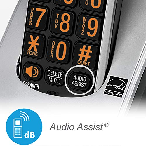 AT&T CRL82212 DECT 6.0 Phone Answering System with Caller ID/Call Waiting, 2 Cordless Handsets, Black/Silver