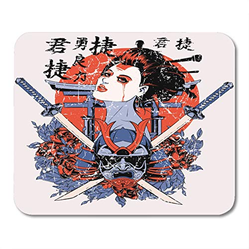 Emvency Mouse Pads Colorful Samurai Geisha Also Available in Separate Layer The Original Without Scratch Red Japanese Mouse Pad 9.5