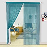 HSYLYM String Curtains for Living Room Kitchen Decor Sheer Curtains Teal Curtains Room Divide (100X200cm,Teal)
