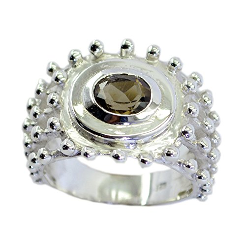 55Carat Oval Genuine Smoky Quartz Silver Streling Ring for Women Handmade Size 4,5,6,7,8,9,10,11,12 (Faceted Smoky Ring Oval Quartz)