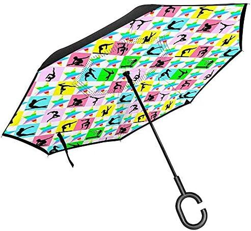 Dem Boswell Fierce Gymnast Car Reverse Umbrella Umgedrehter Regenschirm mit C-förmigem Griff für Autoregen