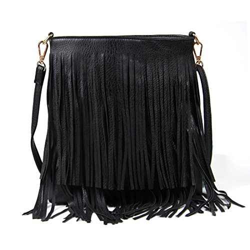 Women Bag Bag Tassel Cross Black Leisure Fringe Body Shoulder RzgqRr