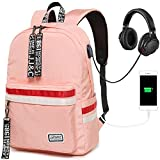 Girls Backpack Teens School Bookbag Laptop Backpack Cute School Bag With USB Charging Port For Women(Pink)