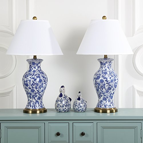 Safavieh Lighting Collection Beijing Floral Urn Blue and White 29-inch Table Lamp (Set of ()