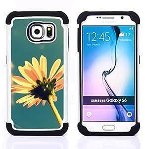 Samsung Galaxy S6 / SM-G920 - 3 en 1 impreso colorido de Altas Prestaciones PC Funda chaqueta Negro cubierta gel silicona suave (Sun Flower Estate Campo Giallo Blu)