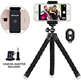 Phone tripod, UBeesize Portable and Adjustable Camera Stand Holder with Remote and Universal Clip for iPhone, Android Phone, Camera, Sports Camera GoPro